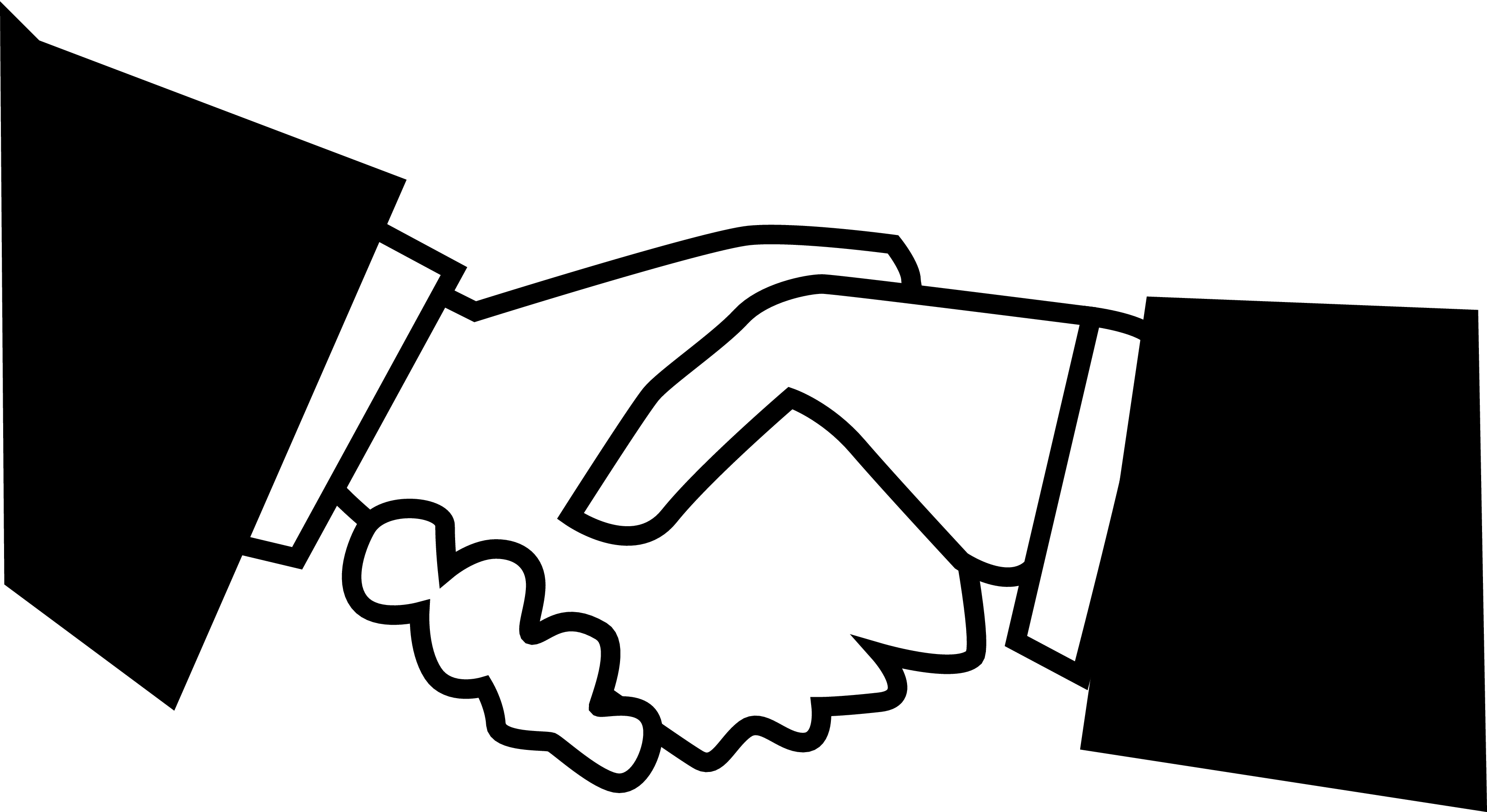Black white handshake clipart kid 4.