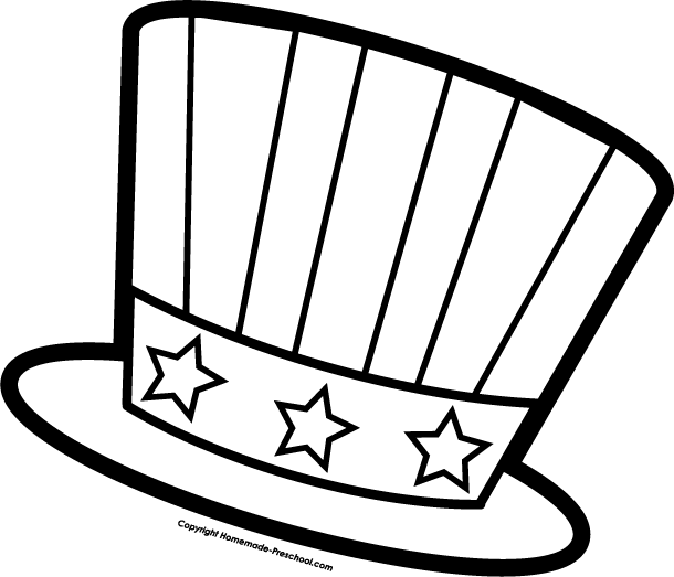 July fourth hat coloring page for preschool.