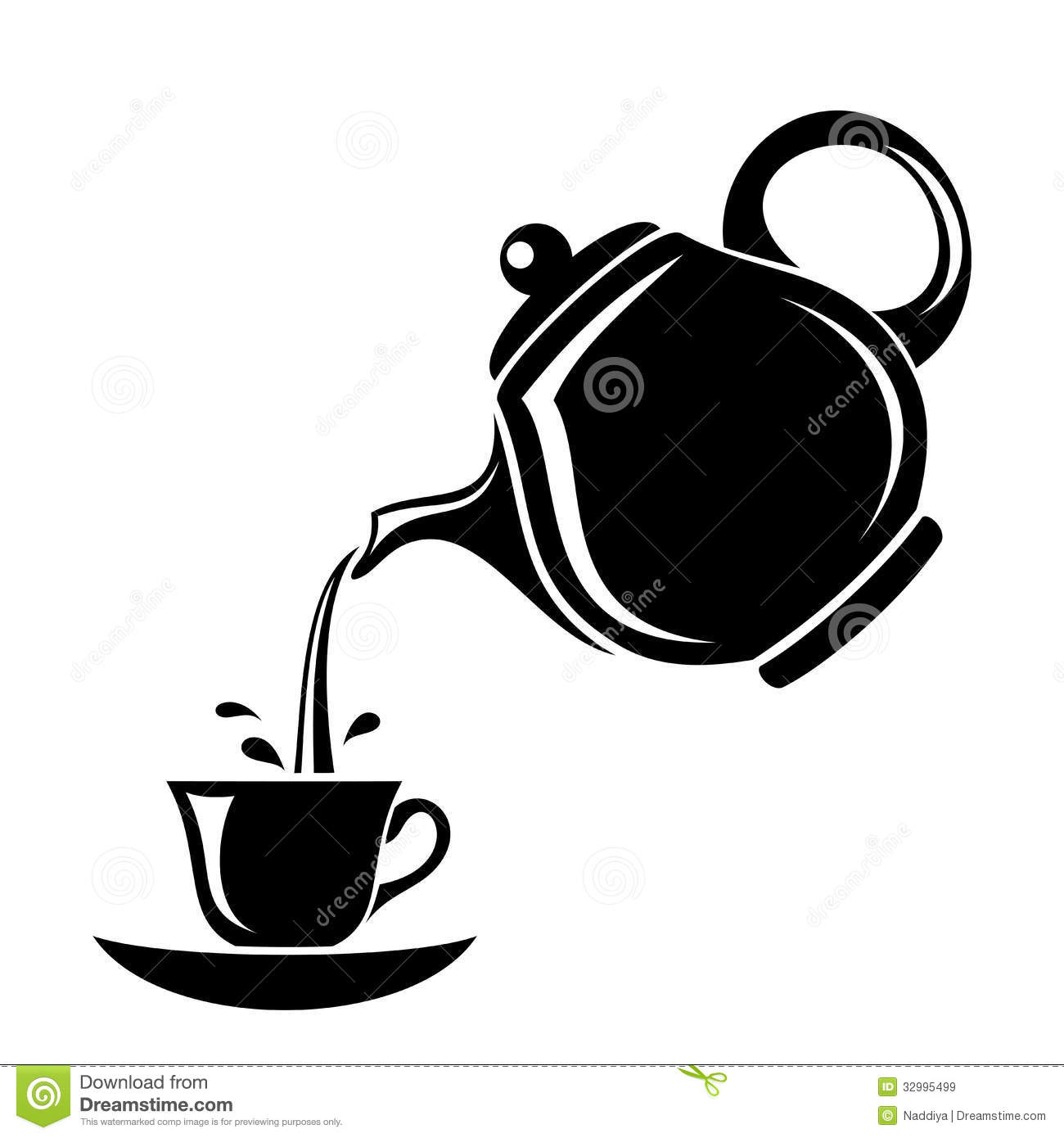 Pouring Tea Clipart.