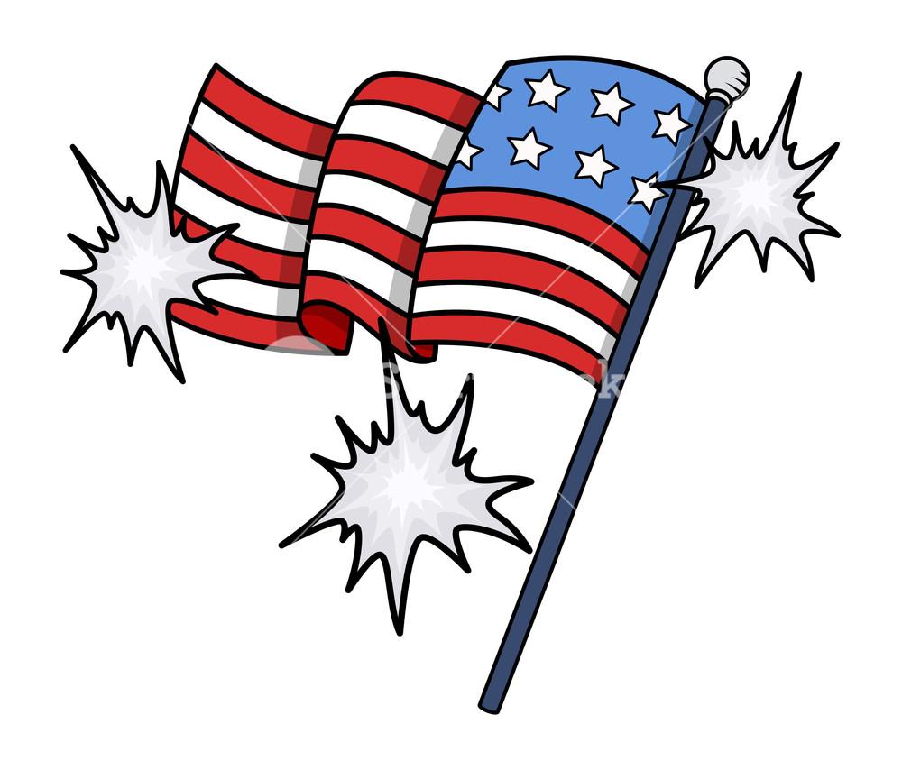 Shiny Usa Flag Vector Clip.