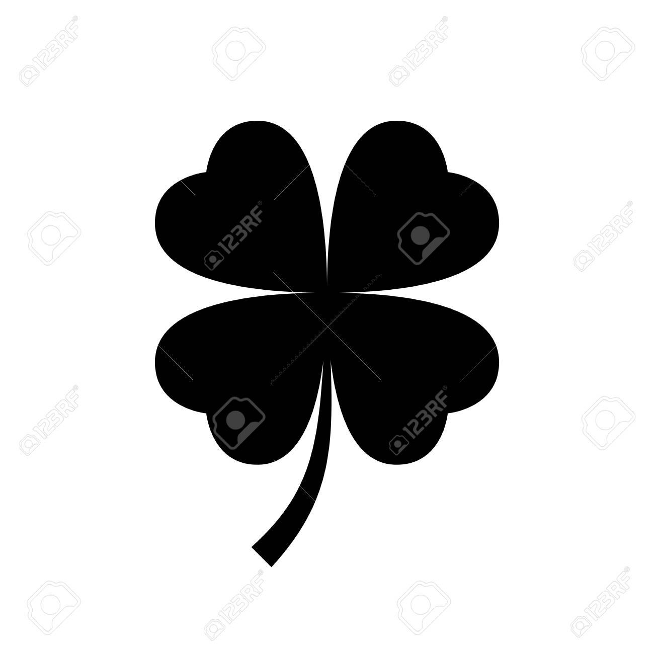 Four leaf clover icon. Black, minimalist icon isolated on white...