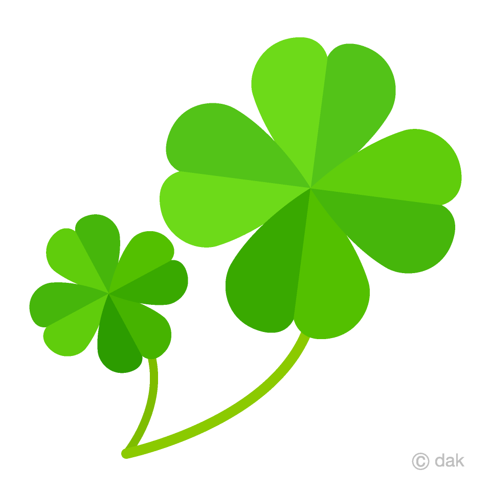 Free Two Four Leaf Clovers Clipart Image|Illustoon.