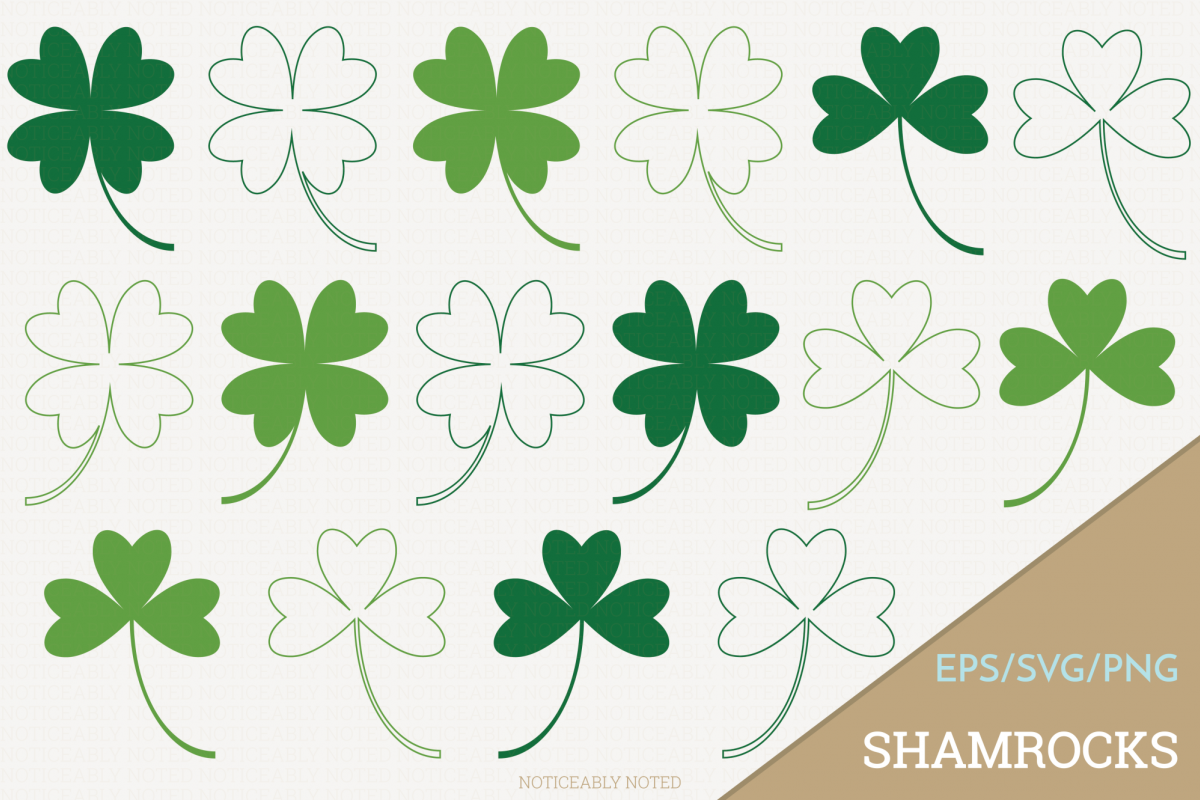 Shamrock Four Leaf Clover Vector Clip Art.