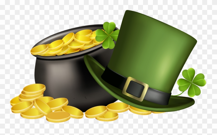 Patricks Day Pot Of Gold, Four Leaf Clover, And Green.