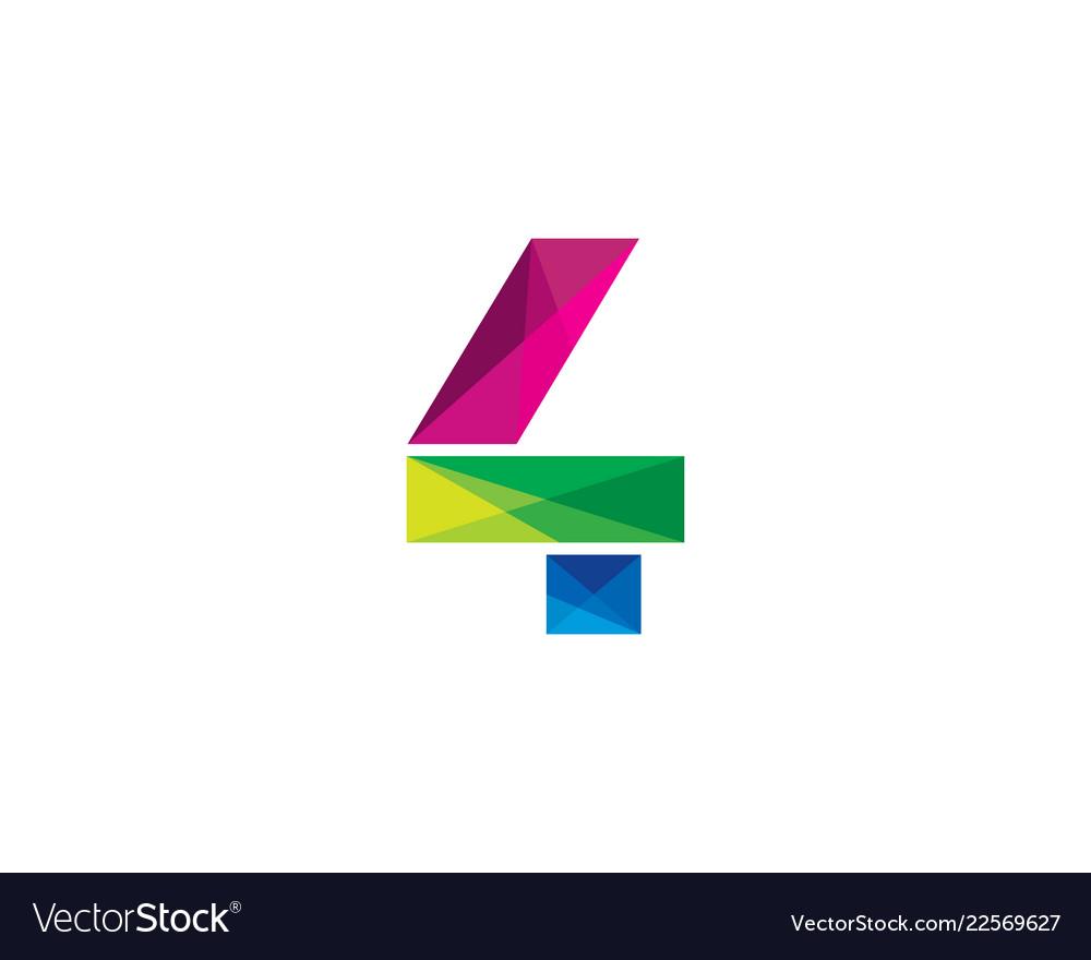 4 colorful letter logo icon design.