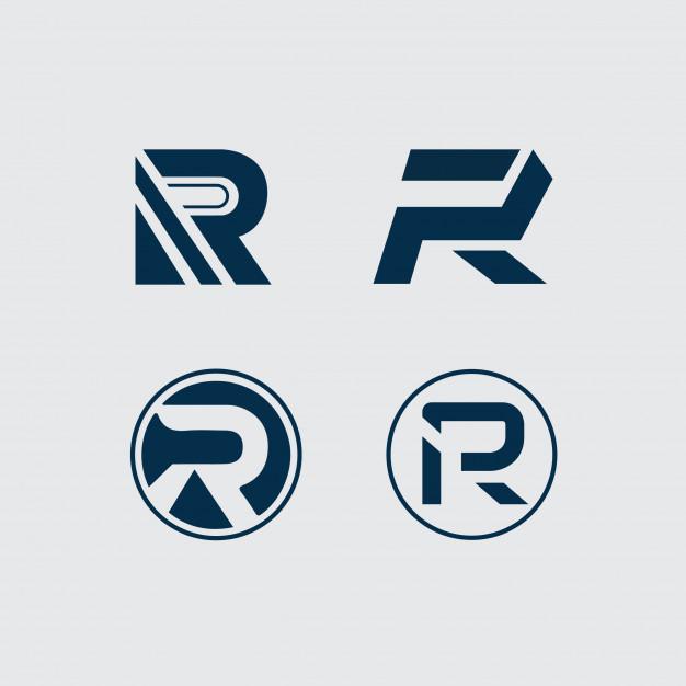 R letter logo 4 type Vector.