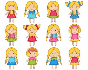 Blonde little girl clipart.