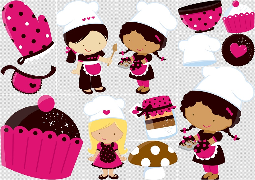Little Girl Chefs Clipart..