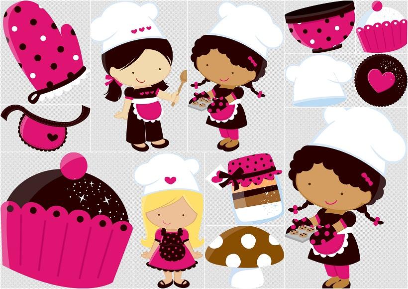 Little Girl Chefs Clipart..