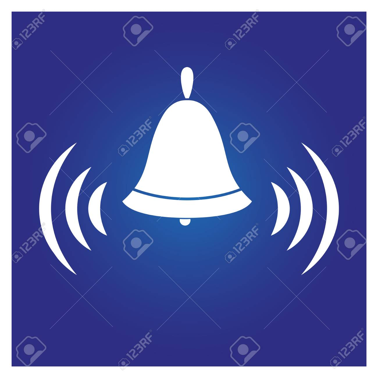The Icon Of The Ringing Bell,on A Blue Background,for The Design.