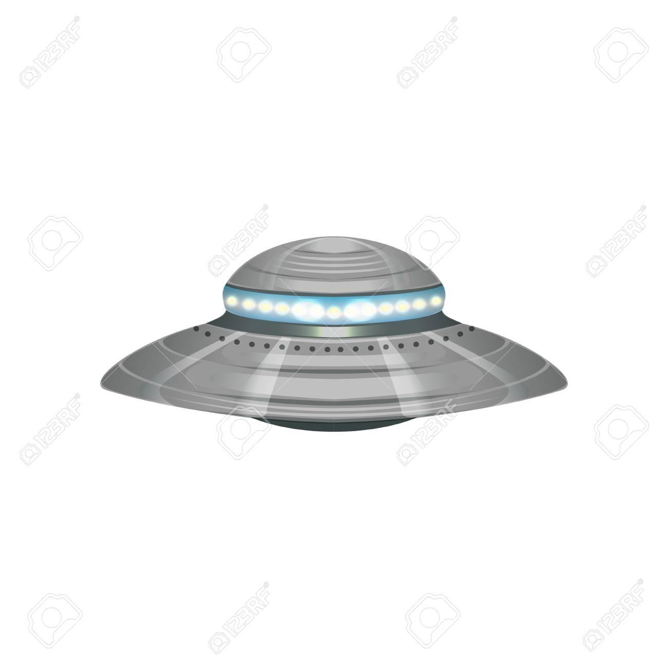 Cartoon Alien Flying Saucer. Extraterrestrial Space Ship. UFO.