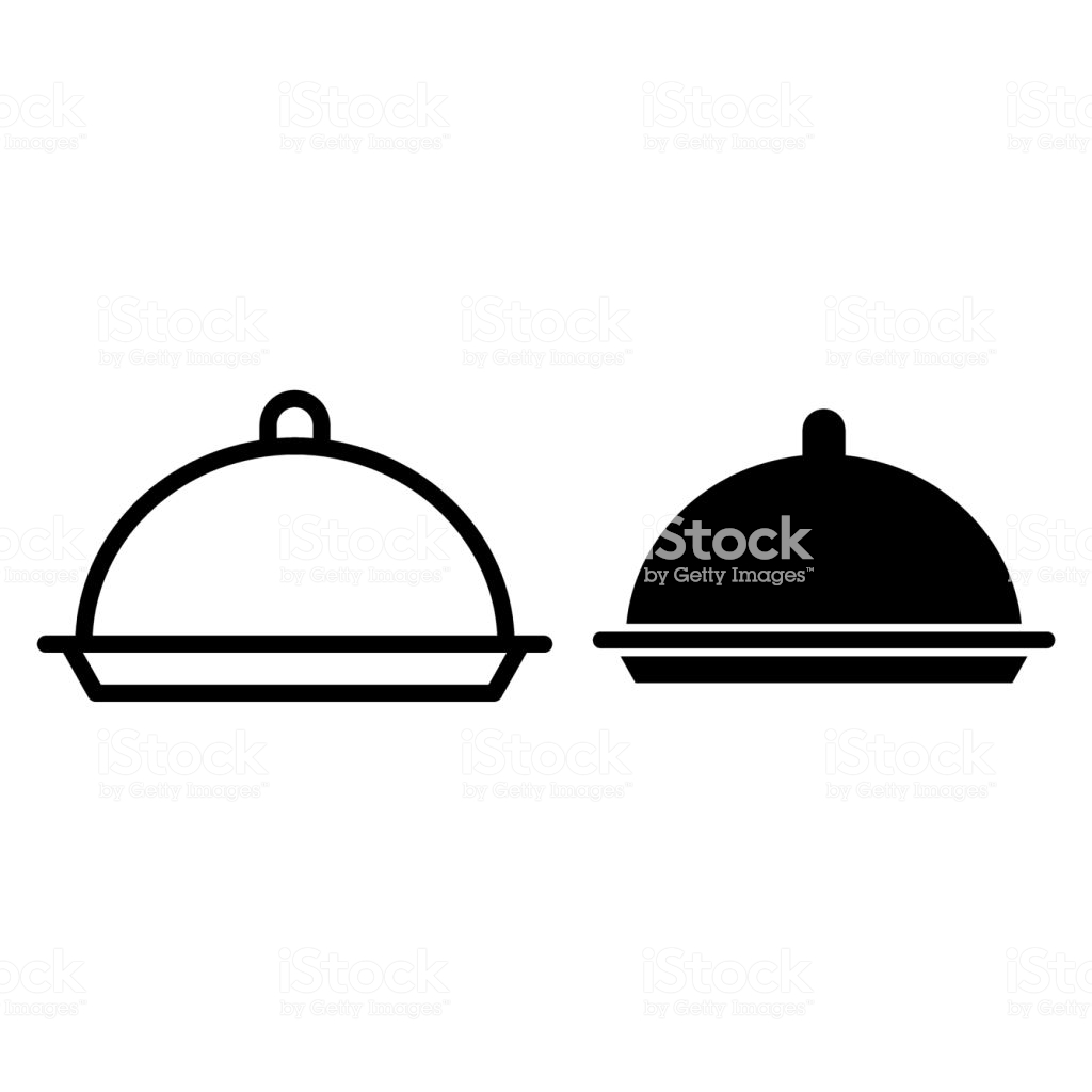 Dish Line Icon Food Cover Vector Illustration Isolated On White Tray.