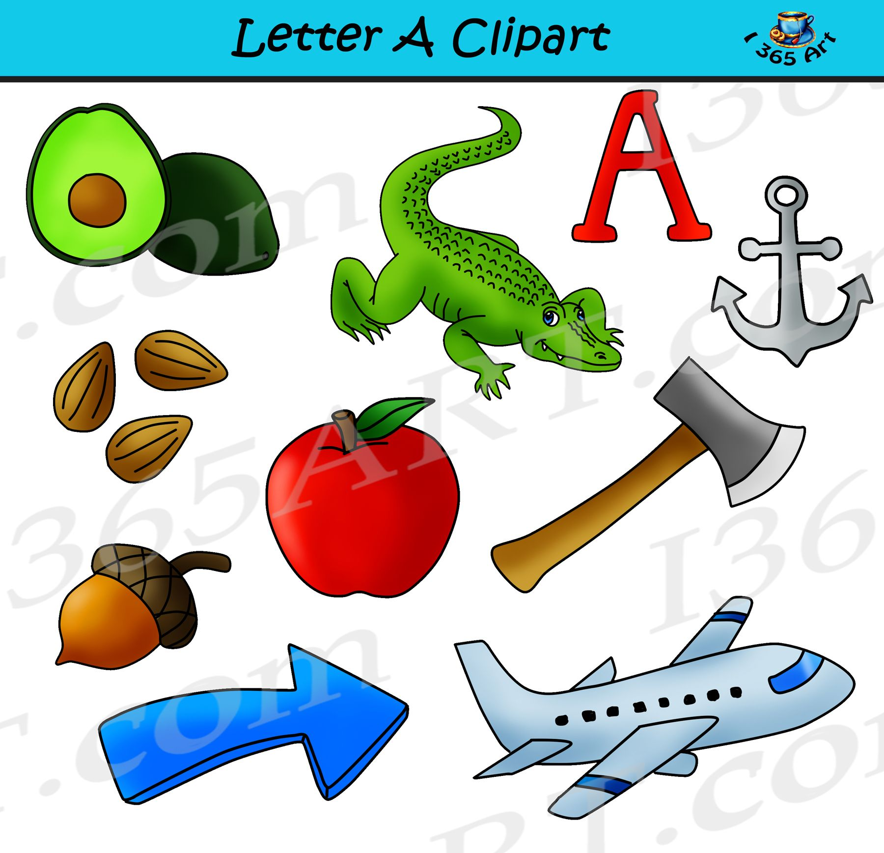 Letter A Objects Clipart.