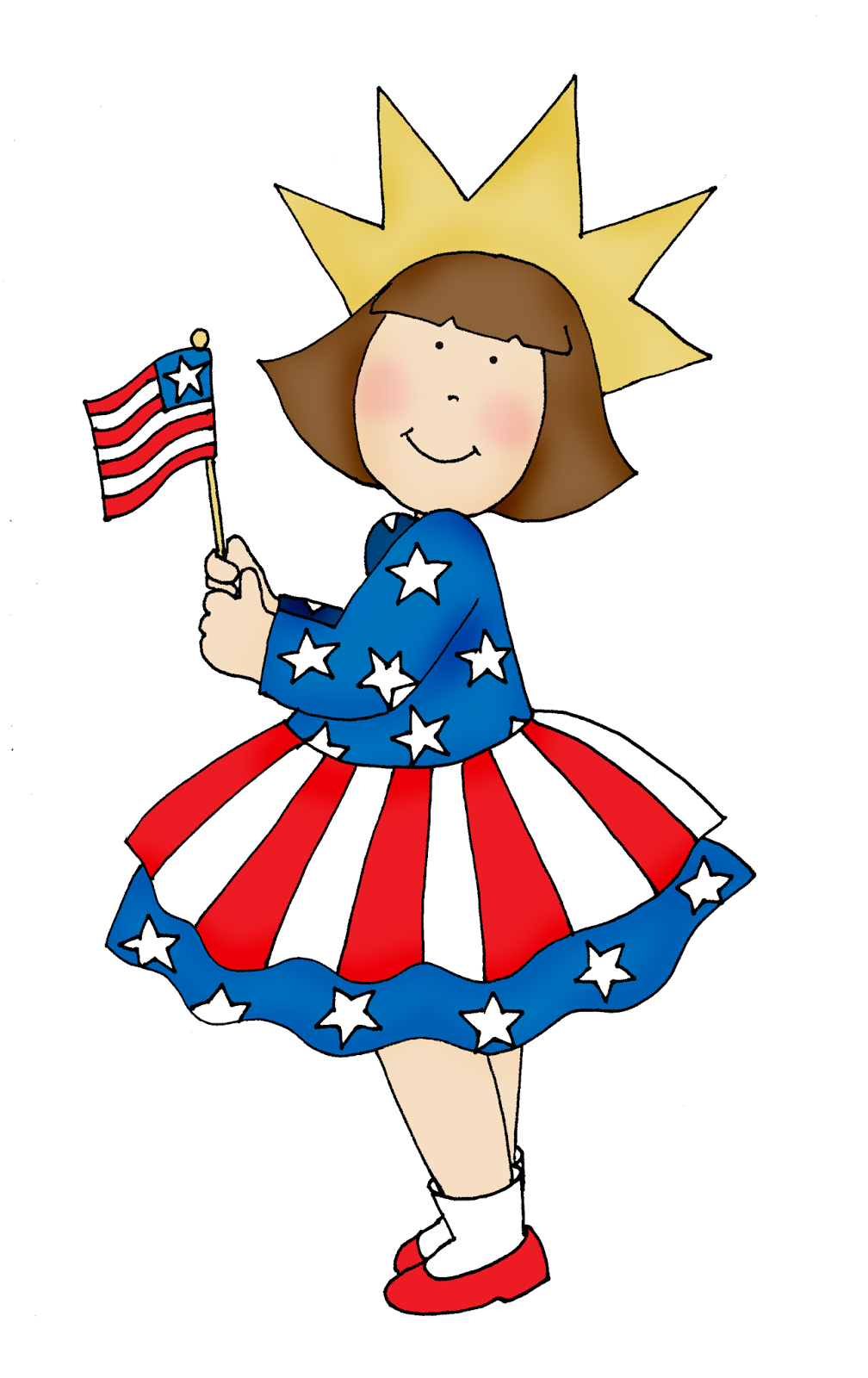 Free Dearie Dolls Digi Stamps: 4th of July Girl.