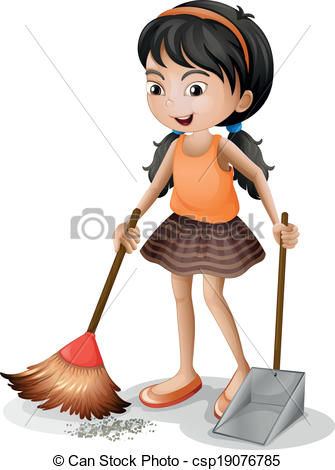 Girl sweeping the floor clipart 4 » Clipart Station.