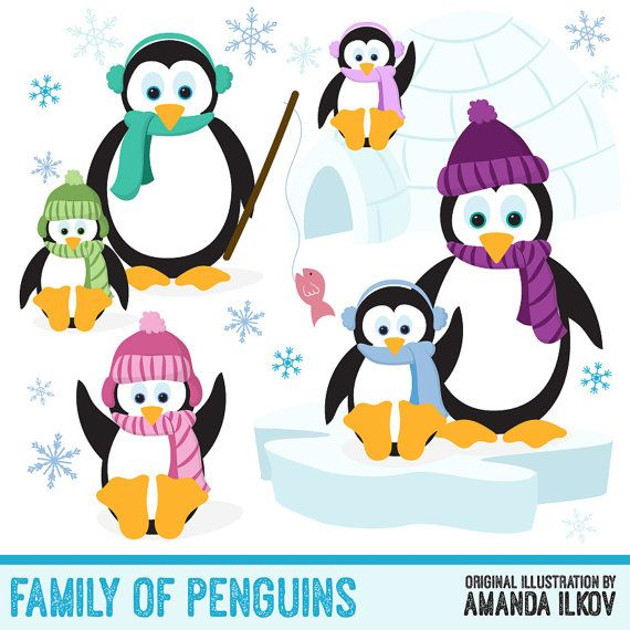 Bright and fun, these hand drawn family of penguins are.