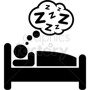 black and white person sleeping in bed icon vector . Royalty.