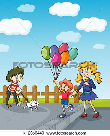 Clip Art of People strolling in the park k12356449.