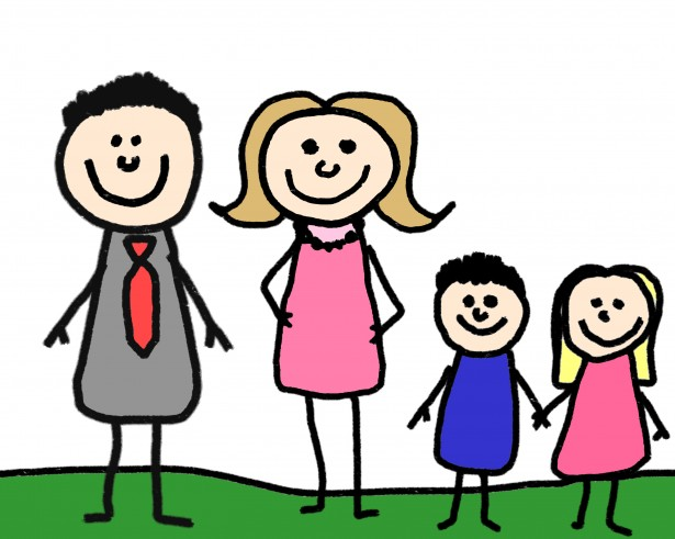 Stick family clipart kid.