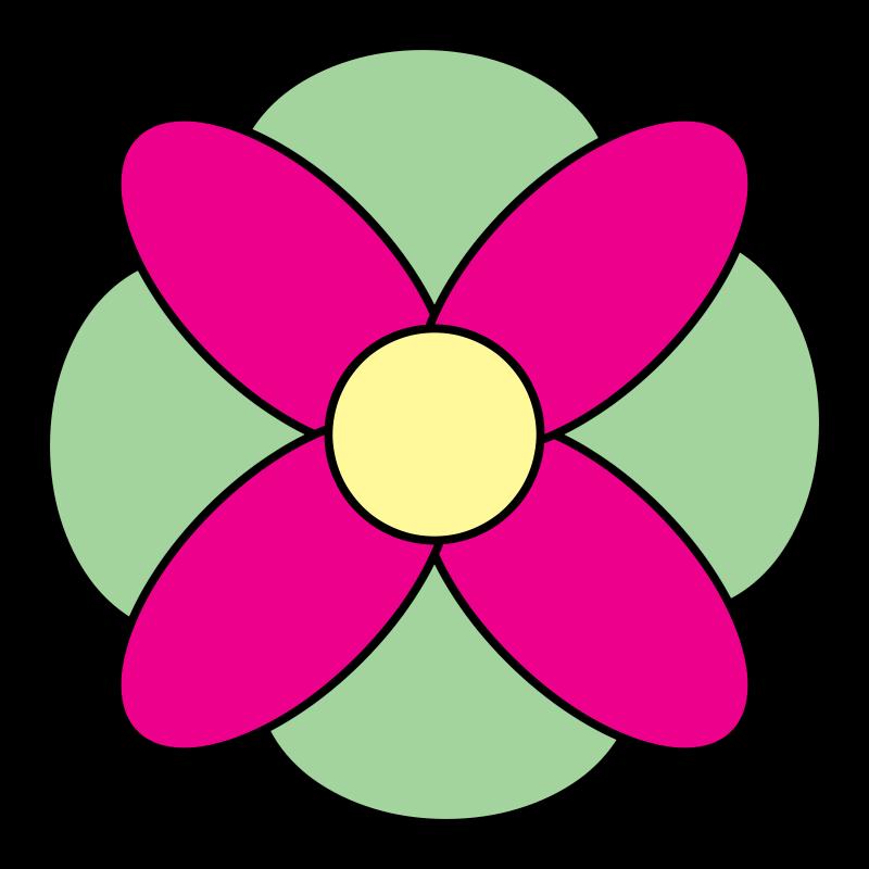 Free Clipart: 4 Petal Flower Doodle.