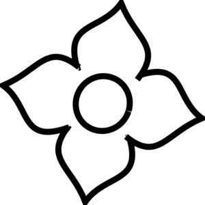 Flower With 4 Petals Clipart.