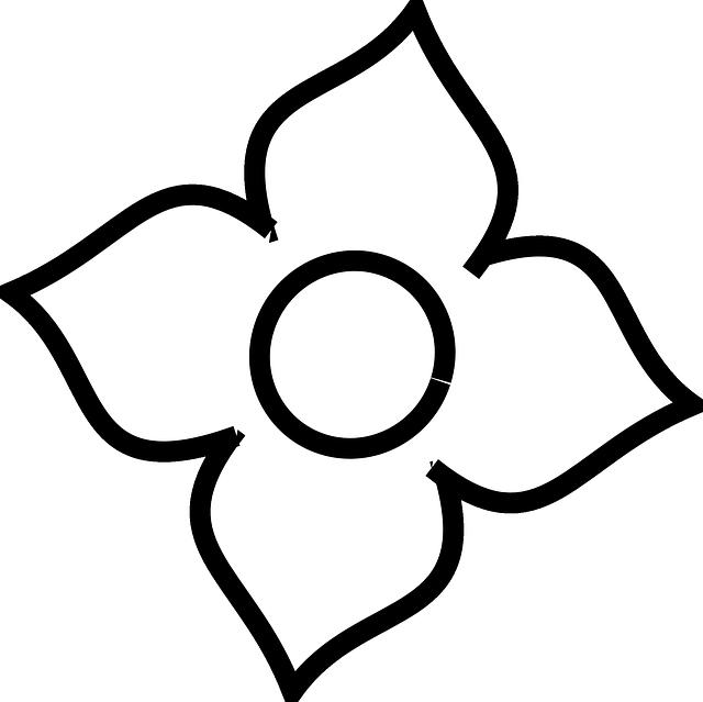 Four Petal Flower Outline , Transparent Cartoon.