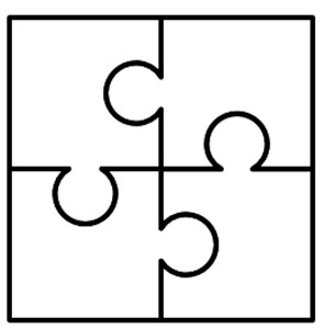 4 Puzzle Pieces Template.