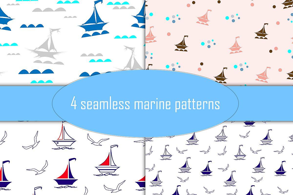 Marine themed seamless patterns, set of 4 plus 7 clip art.