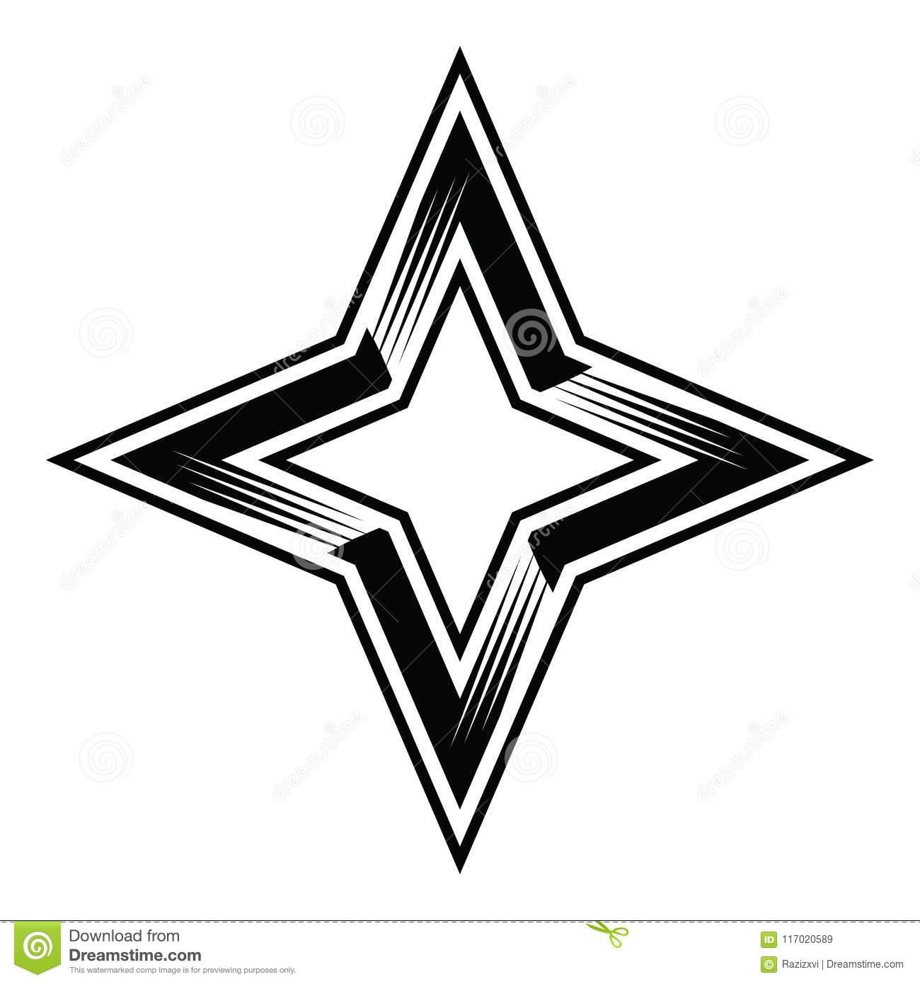 Four Point Star Clipart Vector Stock Vector.