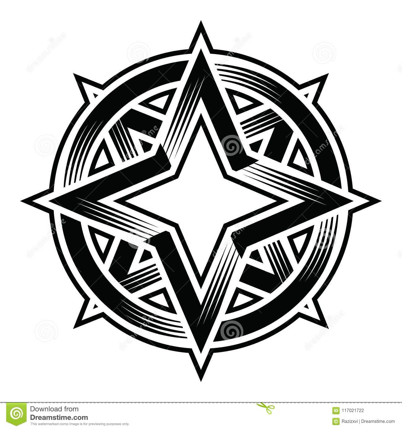 Four Point Star Duo Circle Ellipse Stock Vector.