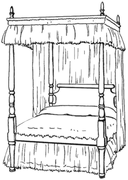 Free Bedroom Coloring Page Clipart, 1 page of Public Domain.