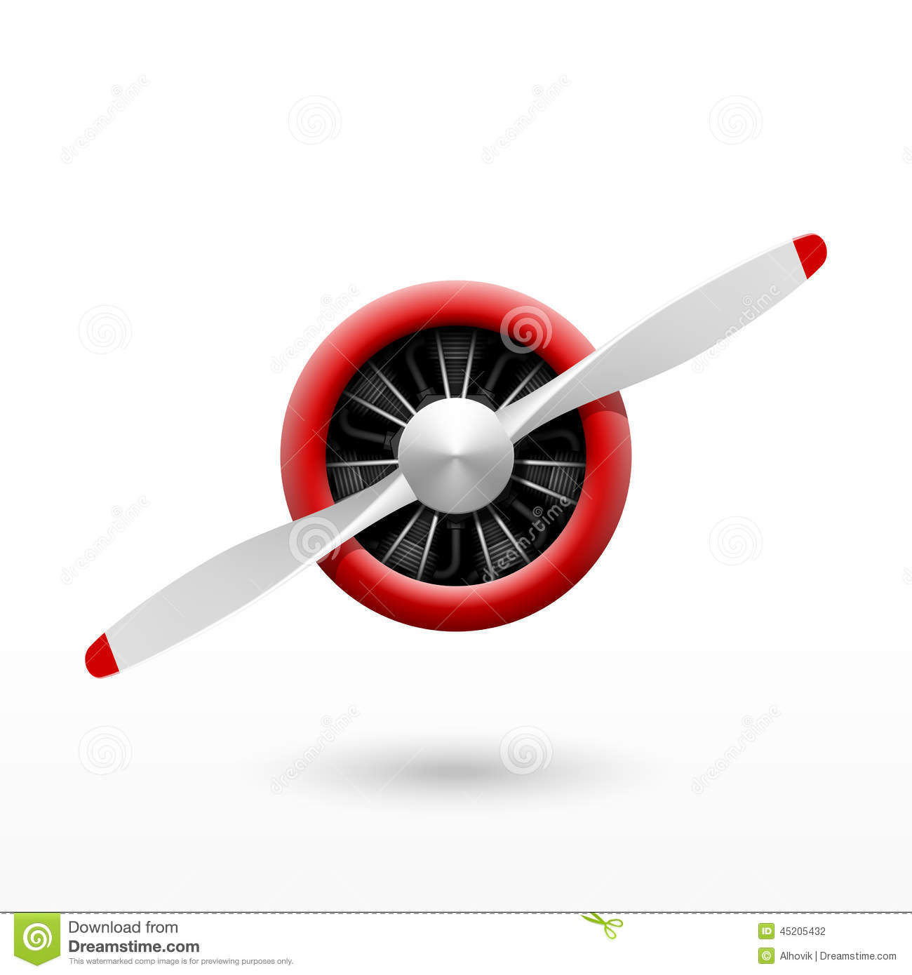 Vintage Airplane Propeller With Radial Engine Stock Vector.