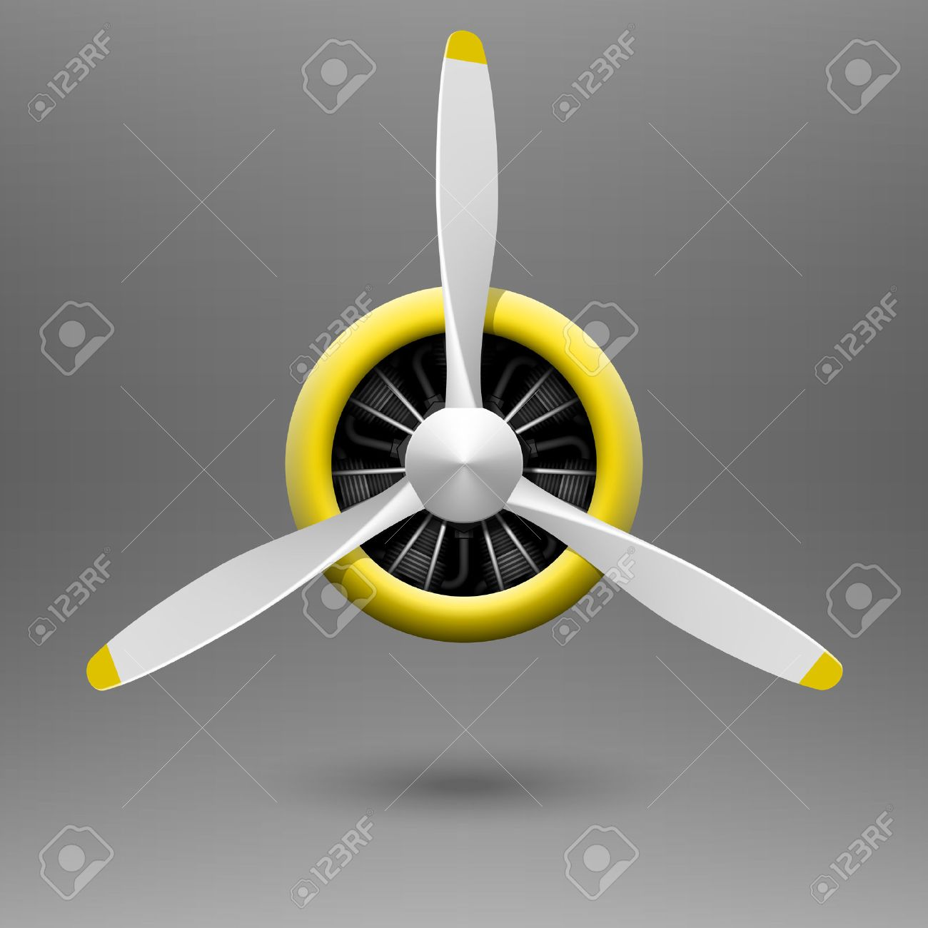 Vintage Airplane Propeller With Radial Engine Royalty Free Cliparts.