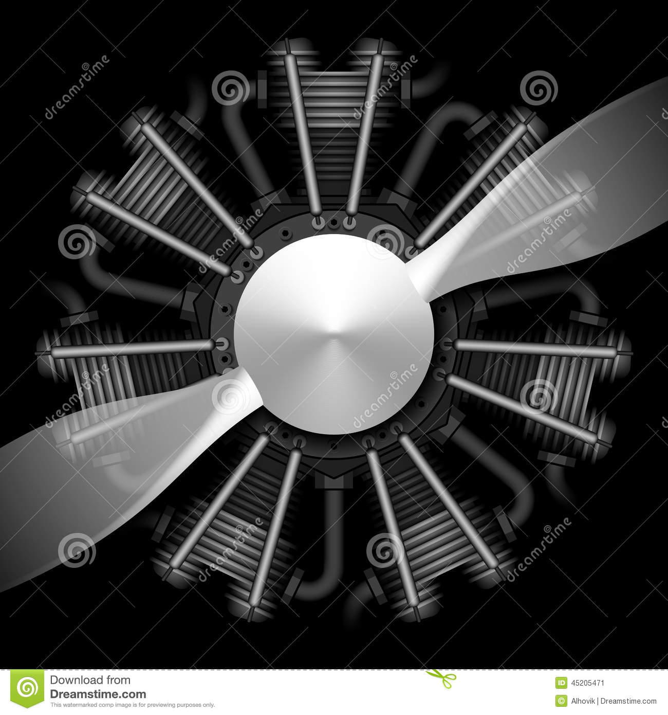 Radial Engine With Propeller Royalty Free Stock Images.