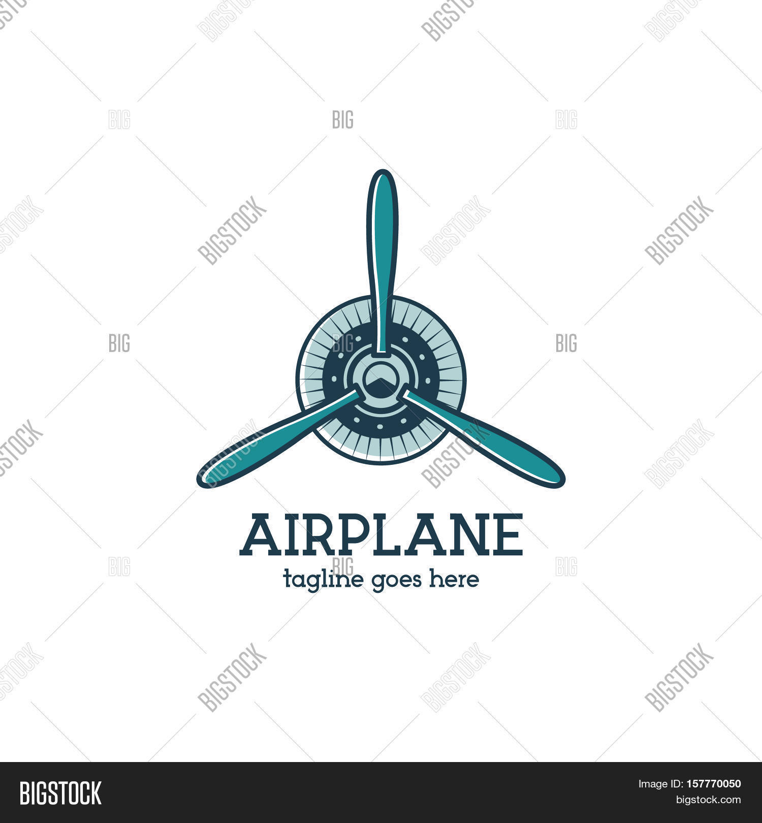 Airplane propeller logo template with radial engine. Retro Plane.