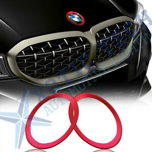 Details about Front Rear Logo Red Ring Decor Trims For BMW 3 4 Series 82mm  & 74mm Emblem.