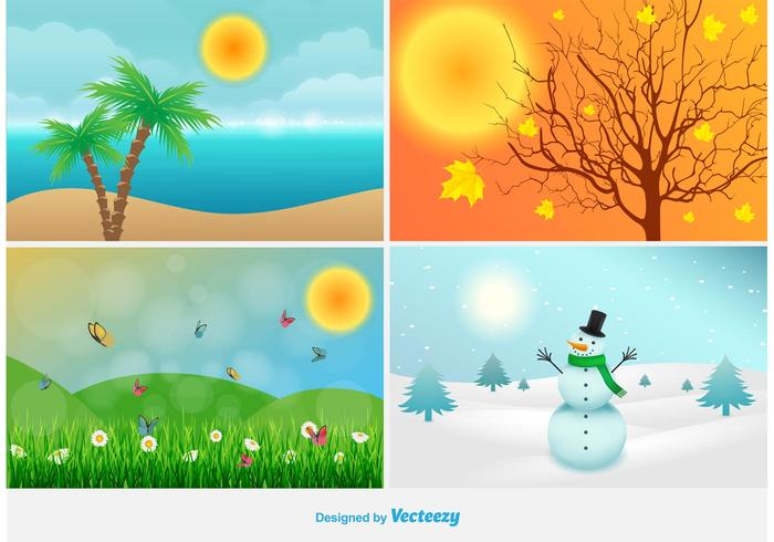 Four Seasons Landscape Illustrations.