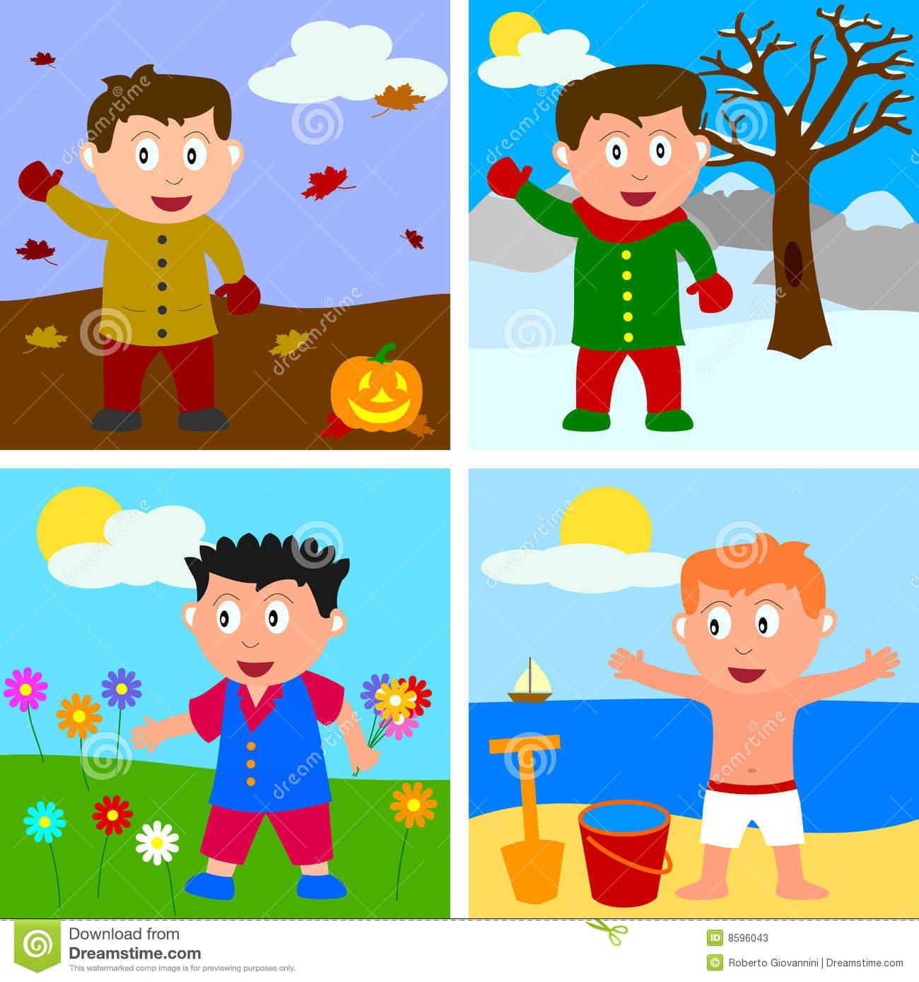 4 Seasons Clothes Clipart.