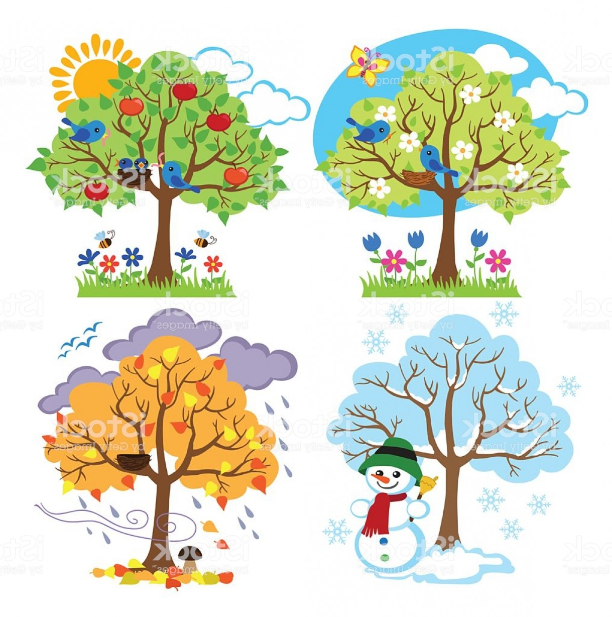 Four Seasons Trees Clipart With Spring Summer Fall And Winter Trees.