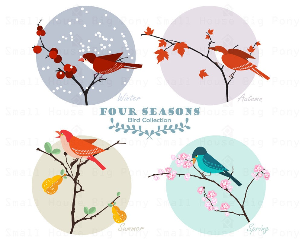 Birds Clipart, 4 Seasons Clip art, Card Clipart, design clip art, beautiful  Clip Art.