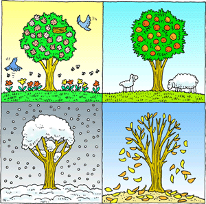 Free Clipart of four seasons.