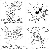 Four Seasons Trees Clipart Coloring Vector Illustration Stock.