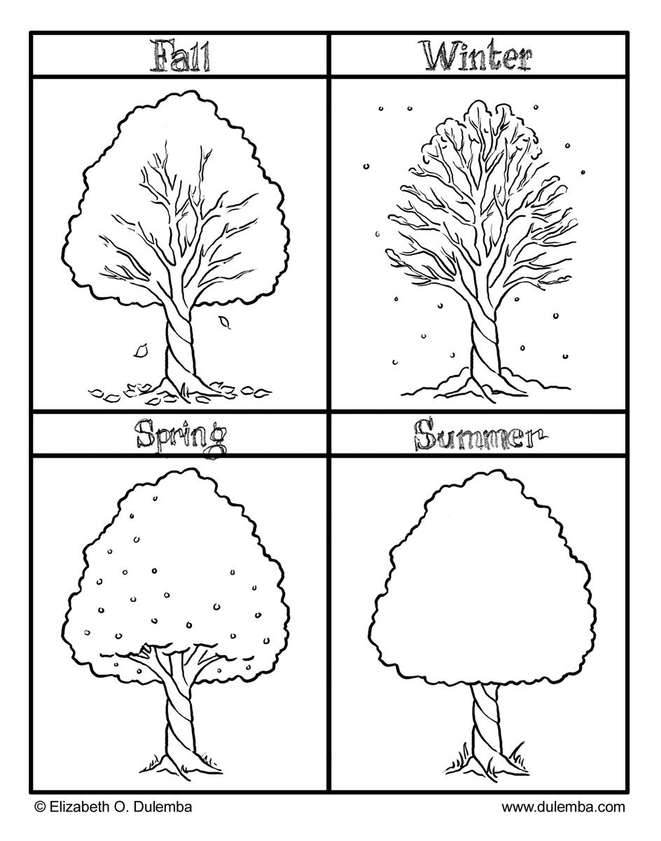 The Four Seasons Colouring Pages.
