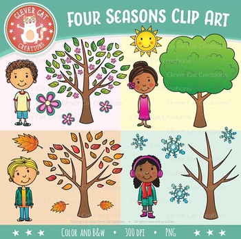 4 Seasons Clip Art & Worksheets.