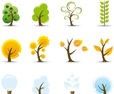 Four Seasons Tree Icons Clipart Graphic.