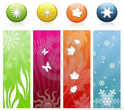The Four Seasons Icons & Banners Stock Images.