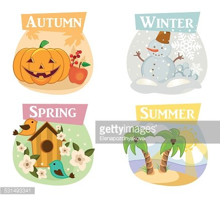 Four seasons flat icons: winter, spring, summer, autumn.