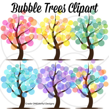 Tree Clipart, 4 Seasons Abstract Trees, Bubble Trees.