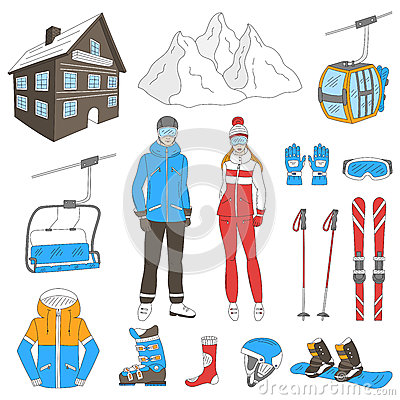 Chairlift Stock Illustrations.