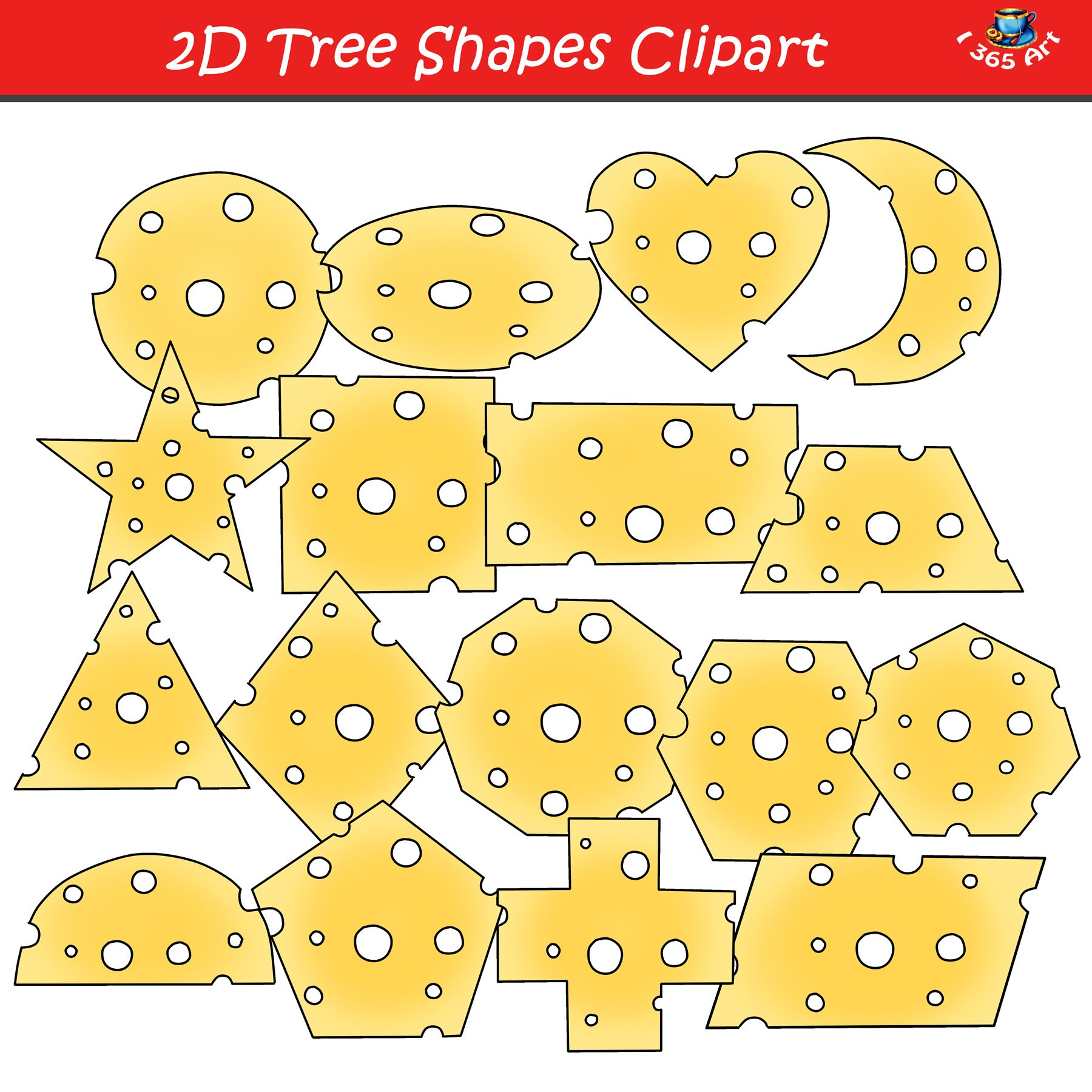 2D Cheese Shapes Clipart Graphics Set.